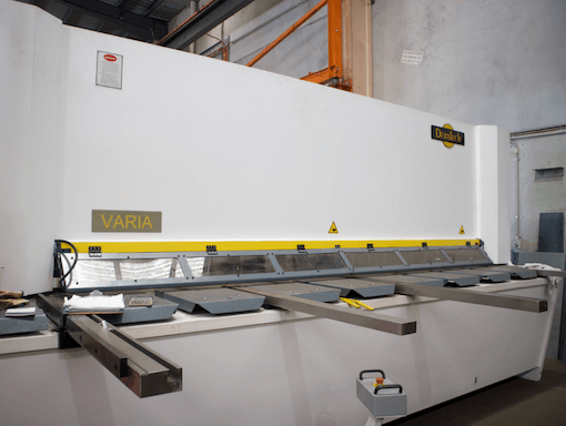 Guillotining in steel fabrication
