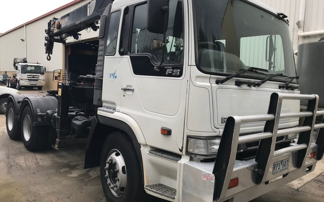 Hino 2002 prime mover with Hiab 160T crane for sale