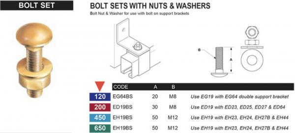 Bolt Set with Nuts & Washers - Sliding door system – Eltrak - EH19BS