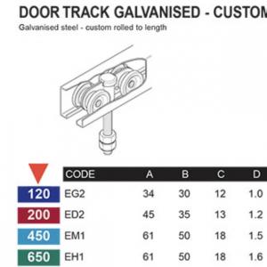 Door Track – Galvanised – Custom rolled - Sliding door system – Eltrak - ED2