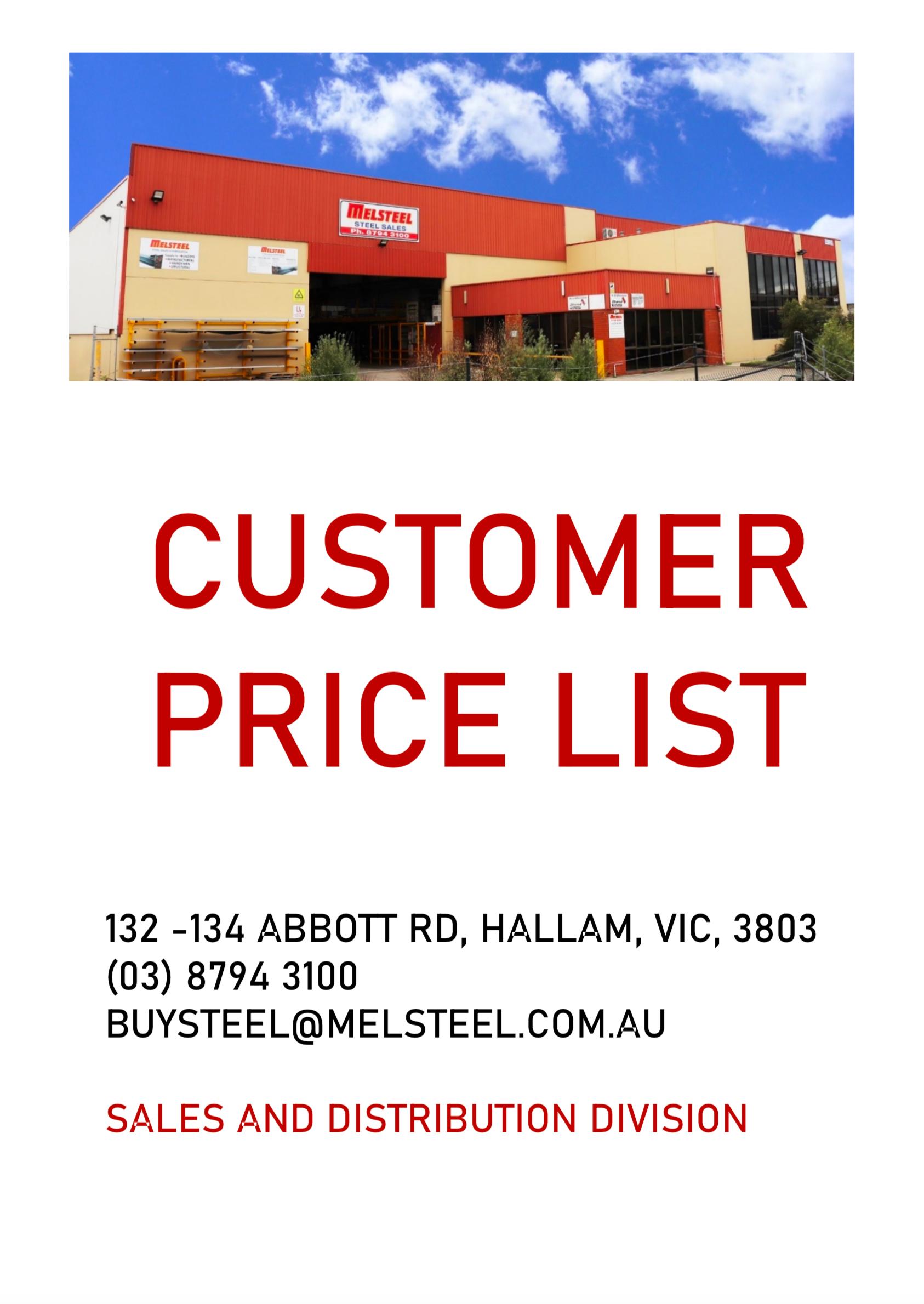 Customer Steel Price List Free Download Melsteel